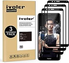 iVoler [Pack de 3] Verre Trempé pour Huawei Honor 7X, [Couverture Complète] Film Protection en Verre trempé écran Protecteur Vitre (Noir)