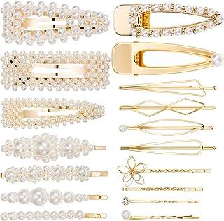 Yaomiao Pearls Hair Clips Metal Hair Pins Hair Barrettes Accessories Bridesmaid Hair Clips for Women Girls (18 Pieces, 17 Styles, Gold)
