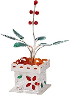 Tulsi Plant { Holy Basil } Decor Pure Sterling Silver ( 15 Grams /.925 Real Silver) For Puja, Diwali Gift,New Year Gift ,Housewarming, Spiritual Worship,Luck & Puja item