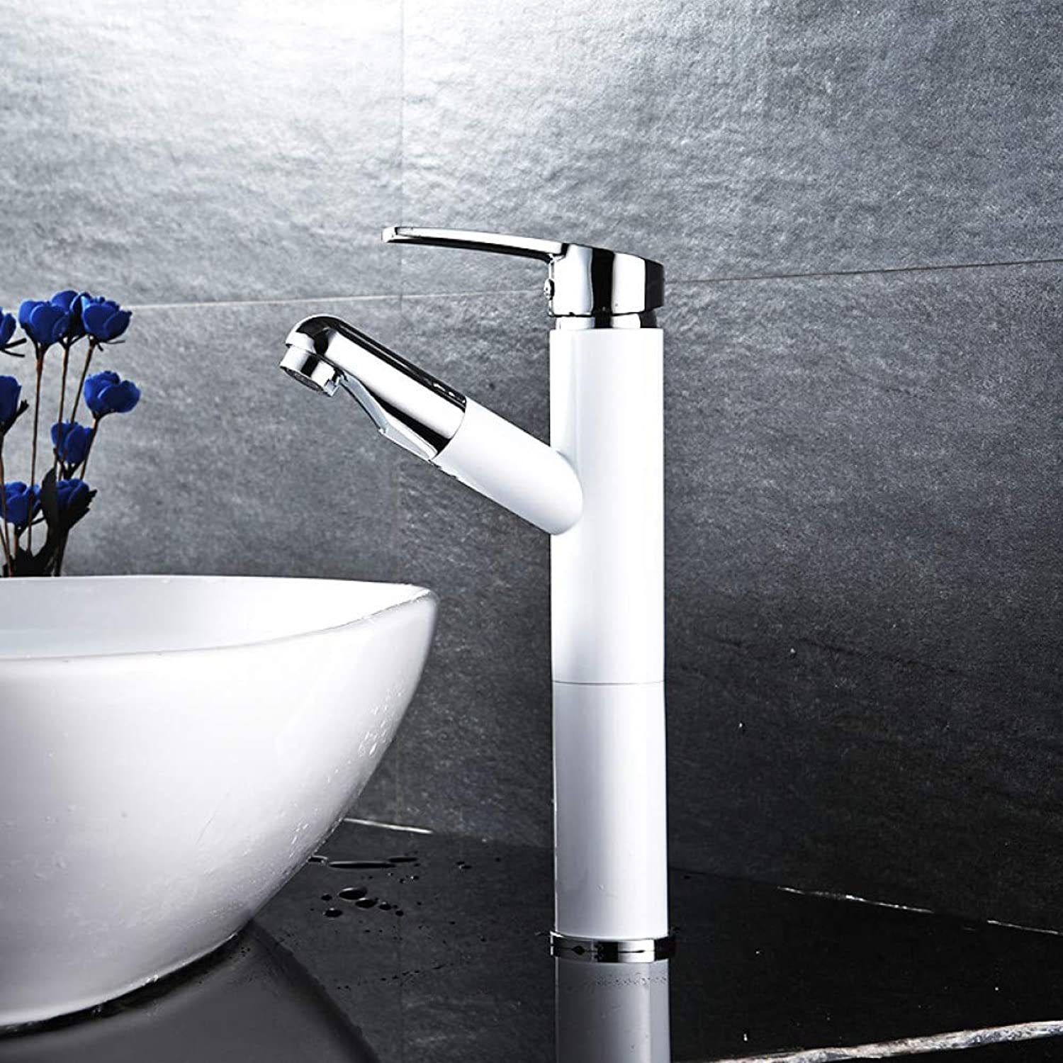 ZHFJGKR&ZL Solid Brass Water Tap Bathroom Basin Faucet Bathroom Tap Cold And Hot Bathroom Sink Faucet.WHITE