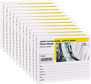 Transon 12 Pack 8 x 10 Artist Canvas Panel Boards for Painting Acid-Free Primed