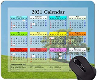 Gaming Mouse Pad 2021 Year Calendar With Holiday,Hill Lonely Tree Green Mouse Pad With Stitched Edge