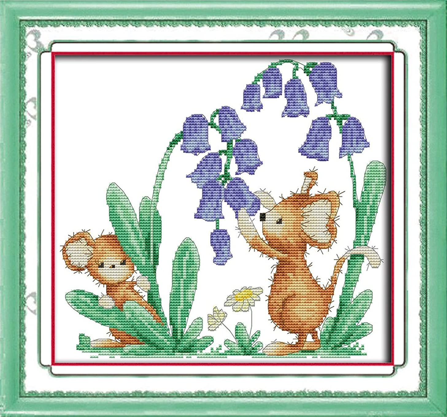 Full Range of Embroidery Starter Kits Stamped Cross Stitch Kits Beginners for DIY Embroidery (Multiple Pattern Designs) - Bluebells and mice