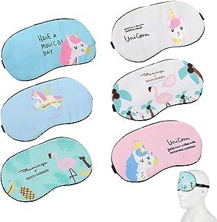 MWOOT 6 Piezas Unicornio Máscara para Dormir, Antifaz suave y ligera para dormir para niñas, adolescentes, mujeres, cubierta para los ojos, fiesta de unicornio