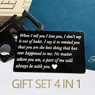 Anniversary Gifts for Men,Christmas Gifts,Engraved Wallet Card+Multitool Card+Greeting Card+Envelope(4 in 1),Anniversary Card from Wife for Husband,Boyfriend,Man Gift Idea for Him,Deployment gifts …