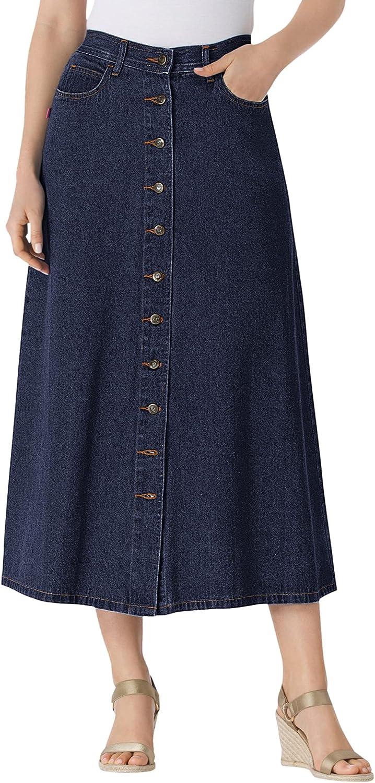 Woman Within Women's Plus Size Button Front Long Denim Skirt