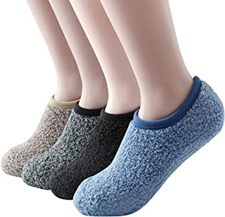 4/6 Cozy Winter Fuzzy Women Socks,Grip Slippers,Fluffy House Non Skid