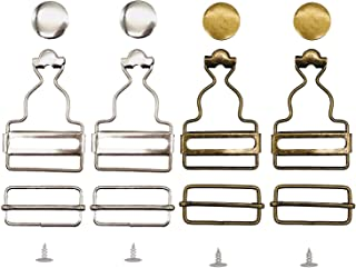 Chris.W Overall Buckles Suspenders Replacement Buckle with Rectangle Buckle Sliding & No-Sew Buttons for 1.25 Inch Straps, Pack of 2 Sets Nickel and 2 Sets Antique Brass