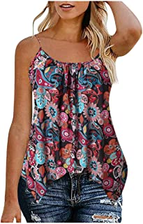 Allywit S-6XL Fashion Women's Sleeveless Tank Top Casual Loose Fitting Shirts Tunics Floral Printed Plus Size
