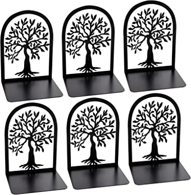 Tree of Life Decorative Bookends - Heavy Duty Book Ends for Shelves, Non Skid Metal Bookend, Book Divider Decorative Holder,