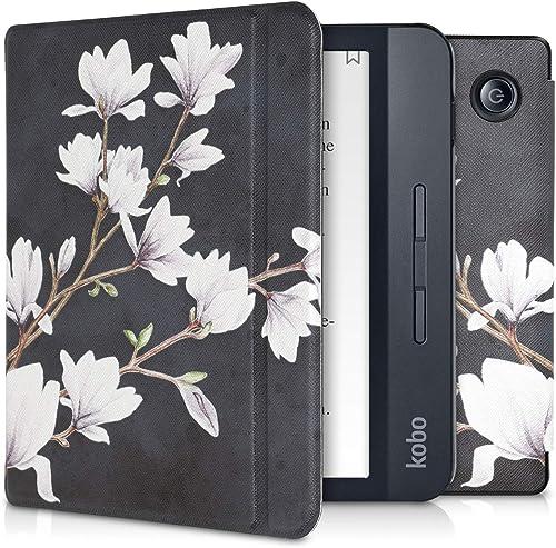 kwmobile Case Compatible with Kobo Libra H2O - PU e-Reader Cover - Magnolias Taupe/White/Dark Grey