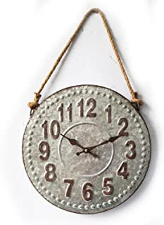 Concepts Metal Vintage Rustic Wall Clock With Rope Hanger 15''