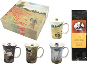4 Monet Classics Coffee or Tea Mugs in a Matching Gift Box Bundle with 1 Gift Package of 6 Tea Bags