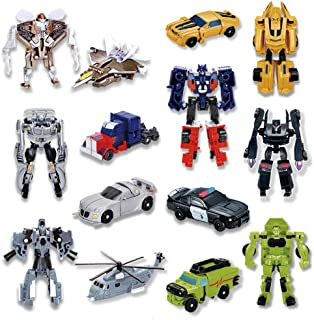 Siyushop 7 Pcs Deform Toys, Mini Action Figures, Deformation Car Robots, Small Rescue Heroes and Vehicles Toys for Kids (High3.15 Inch)