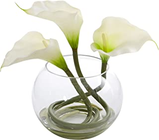 Nearly Natural Calla Lily in Rounded Glass Vase, 9