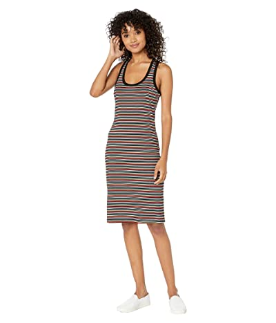 Cupcakes and Cashmere Terry Multi-Stripe Rib Knit Midi Tank Dress (Black) Women