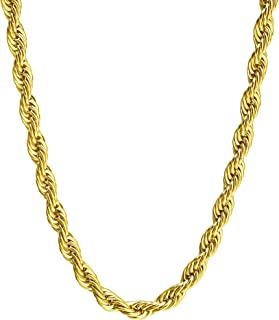 4-8 MM Stainless Steel Mens Womens Necklace Twist Rope Chain, 16-36 inches