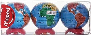 مبراة بتصميم الكرة الارضية من مابد - 3 قطع، متعددة الالوان