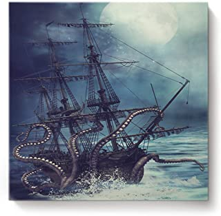 Canvas Print Wall Art Kraken Octopus Monster Pirate Ship Wall Decor Paintings Pictures for Living Room Modern Artwork Stretched and Framed Ready to Hang 16 x 16 inches