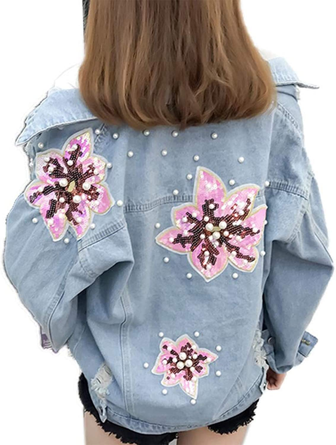 Denim Jacket Credence Women's Fashion Lapel Collar In a popularity Loose Casual Hop H Hip