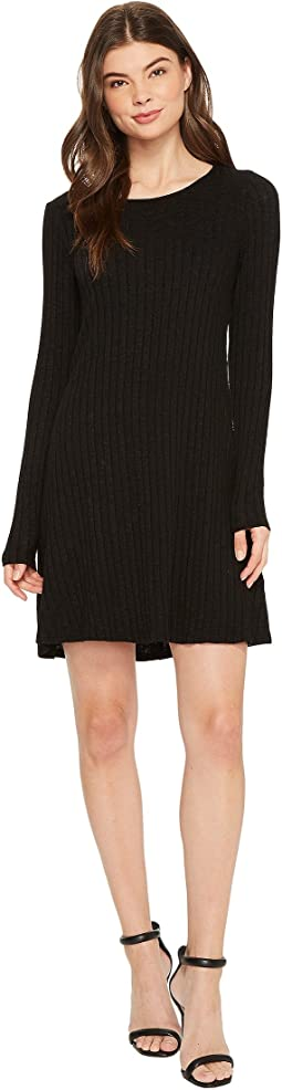 Michael Stars - Jasper Poor Boy Rib Crew Neck Long Sleeve Dress