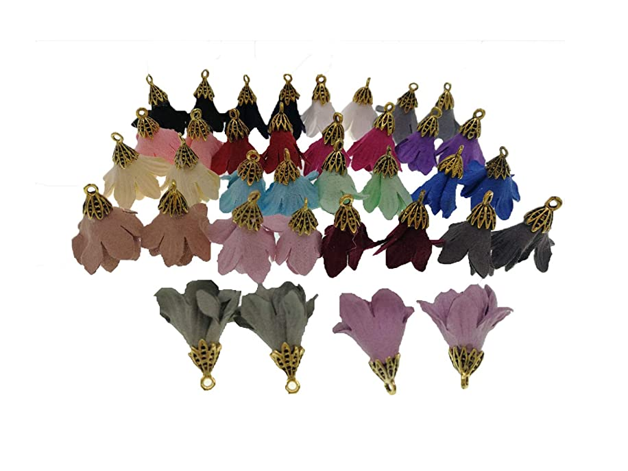 Pamir Tong 72pcs 9/10'' Inch Suede Flower Tassel Pendant with Gold Caps (0.9