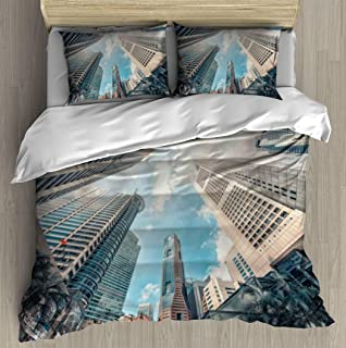 Soft Printed Bedding Set singapore city downtown in daytime beautiful scenery stock pictures, Duvet Cover Pillow Case Patt...