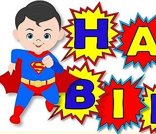 Superhero Batman Superman Birthday Party Banner - HAPPY BIRTHDAY Garland Party Decoration - Handmade in USA