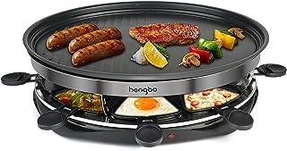 Appareil Raclette 8 Personnes, Barbecue Grill Party avec 8 Poêlons Antiadhésives, 1500W - Noir
