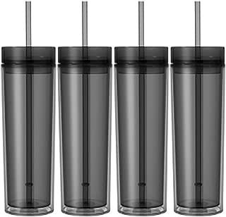 Set of 4 Skinny Acrylic Tumblers, Double Wall, Skinny Acrylic Tumbler 16oz Graphite