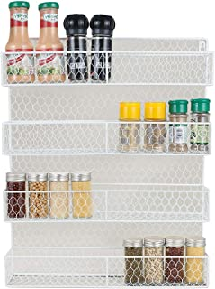 IZLIF Spice Rack Organizer 4 Tier Country Rustic Chicken Herb Holder | Wall Mounted Storage Rack for Storing Spices Household Items,White