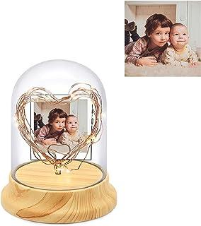Lámpara de corazón personalizada con foto, lámpara de cristal de corazón LED personalizada, luz nocturna de bricolaje, aniversario, regalo de cumpleaños de Navidad para amantes, familiares, amigos