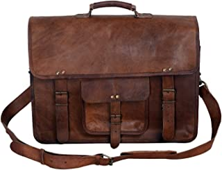 KPL 18 Inch Vintage Men's Briefcase دستباف چرم دستبند Best Laptop Messenger Bag Satchel