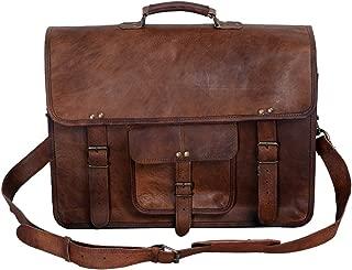 KPL 18 Inch Vintage Men's Brown Handmade Leather Briefcase Best Laptop Messenger Bag Satchel for Men Gifts for him (18 inch)