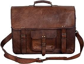 KPL 18 Inch Vintage Men's Brown Handmade Leather Briefcase Best Laptop Messenger Bag Satchel for Men Gifts for him