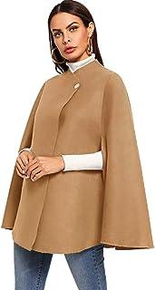 MAKEMECHIC - Poncho Elegante con Capa y Mangas de Doble botón para Mujer, Caqui, XS