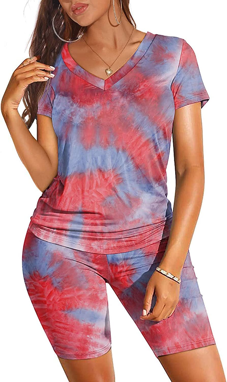 Womens Pajama Sets,Women's Tie Dye Printed Sleepwear Lounge Long Sleeve Pajama Set Ruffle Night Shirt with Shorts