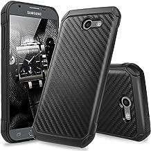 TJS Case for Samsung Galaxy J3 Emerge/J3 Prime/Amp Prime 2/Express Prime 2/Sol 2/J3 Mission/J3 Luna Pro/J3 Eclipse, Hybrid Shock Absorbing Phone Cover Carbon Fiber Back Hard TPU Inner Layer (Black)
