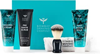 Bombay Shaving Company Shaving Essentials Value Kit - Shaving Cream, Scrub, Post Shave Balm, Immitation Badger Brush with Free Towel