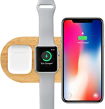 Rhidon Wireless Charger, 3 in 1 Wood Stand for Apple Watch Airpods Dock, Qi Fast Wireless Charging Pad Compatible for iPhone X/iPhone 8/iPhone 8 Plus and Other Qi-Enabled Devices