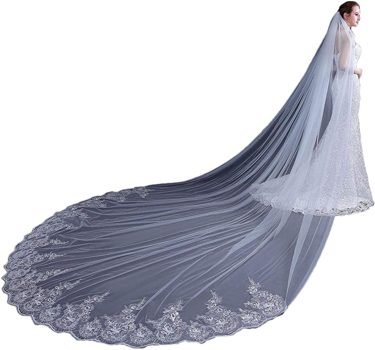 JoJoHouse Women's Long Cathedral Wedding Veil with Sequin Lace Bridal Veil with Comb LTS8