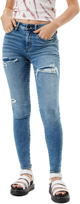American Eagle Women's 3085439 Cozy Next Level Stretch Hi-Rise Jegging Jeans Brilliant Repair Blue