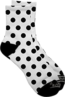 TooLoud Black Polka Dots on White Adult Short Socks Select Your Size All Over Print