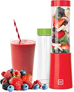 Euro Cuisine MM1R Portable Blender for Shakes and Smoothies - 150W Mini Mixx Personal Blender with 2-10oz Tritan Bottles - Small Smoothie Maker for Travel - BPA Free (Red)