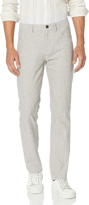 Perry Ellis Men's Slim Fit Solid Linen Cotton Pant