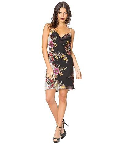 LAVENDER BROWN Bias Printed Cawl Neck Mini Dress
