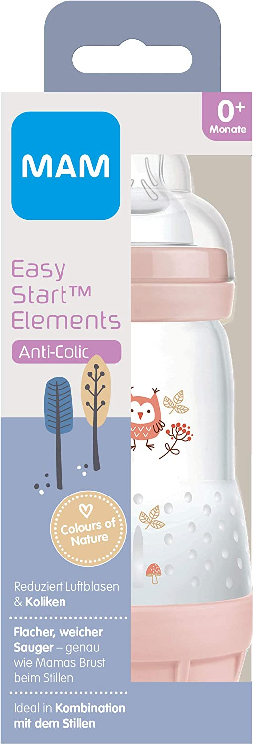 0+ Months Size 1 MAM Easy Start Anti-Colic Elements Baby Bottle Rabbit 160 ml Baby Water Bottle with Base Valve Against Colic and Teat Milk Bottle for Combining Breastfeeding