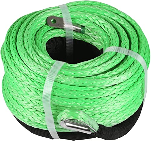 2021 Mophorn Green Synthetic Winch Line 5/16 popular Inch X100FT Synthetic Winch Rope 2021 12000 LBS Tow Rope for Car with Sheath (100ft) outlet sale