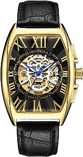 Men's Mechancial Watch Tonneau Skeleton Roman Automatic Self-Wind Wristwatch Sweetbless
