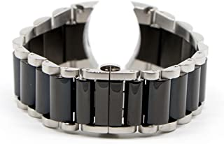 Swiss Legend 29MM Black and Silver Stainless/Ceramic 8 Inch Watch Strap Bracelet Fits 44mm Commander Watch
